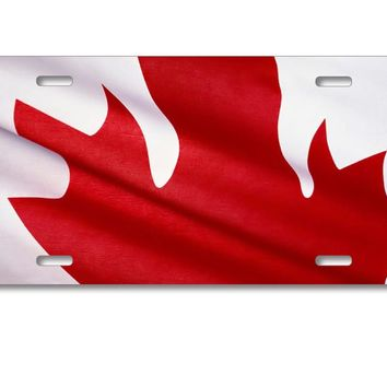 DistinctInk Custom Aluminum Decorative License Plate - Red White Canadian Flag Canada