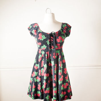 Vintage BETSY JOHNSON Babydoll Dress | Soft Grunge Dress Romantic Dress Mini Dress Skater 90s Dress Alternative Pastel Goth Rose Lace Up