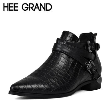HEE GRAND Autumn Women Boots 2016 Fashion PU Leather Shoes Woman Crocodile Ankle Buckle Boots Platform Flats Size 35-39 XWX1312