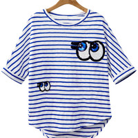Eye Sequined Striped Loose T-shirt
