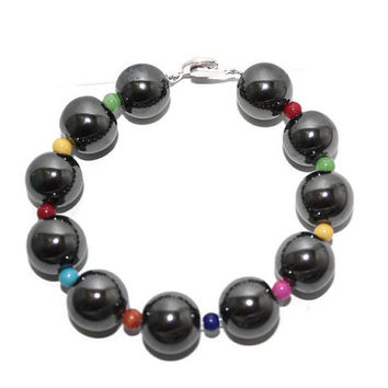 Hematite Bracelet, Colorful Bracelet, Beaded Bracelet, Gemstone Bracelet, Bracelet With Big Beads