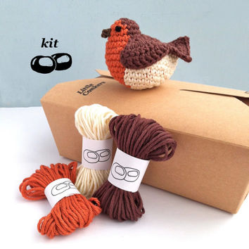 Robin Crochet Kit / DIY Kit Bird Decoration / Eco-friendly Craft Kit / Gift for Crocheter / Christmas Easter Crochet Pattern