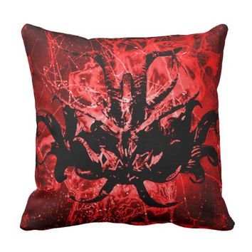 Scary Tribal Mask Throw Pillow