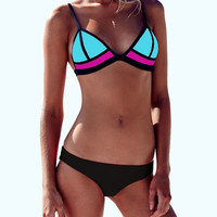 Color Block Neoprene Triangle Bikini