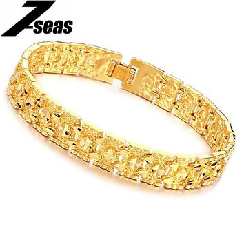 7SEAS Luxury Gold Color Men Bracelet & Bangles Fashion Design Chain Men Jewelry Bracelets Never Fade Best Gifts,JM160K