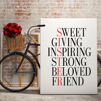 Sister Christmas Gift for Sister Gift Maid of Honor Sisters Birthday Gift Sister Christmas Presents for Sister Best Of Friends Family Print