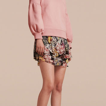 Brushed-back Jersey Sweatshirt with Bell Sleeves Ash Rose | Burberry
