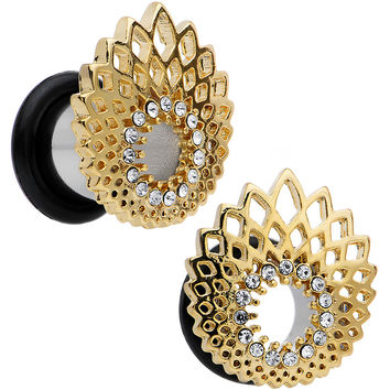 0 Gauge Clear Gem Golden Gala Feather Single Flare Tunnel Plug Set