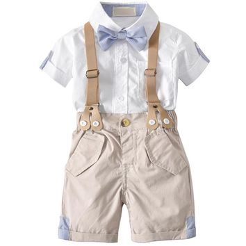 Toddler boys clothing 2018 Summer Short Sleeve White Shirt + Jumper Shorts Baby Boy Gentleman Suit With Bow Children's Costumes