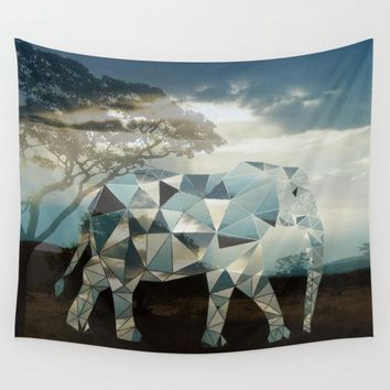 Reiki Charged Polyscape Elephant Geometric Africa Tapestry Wall Hanging