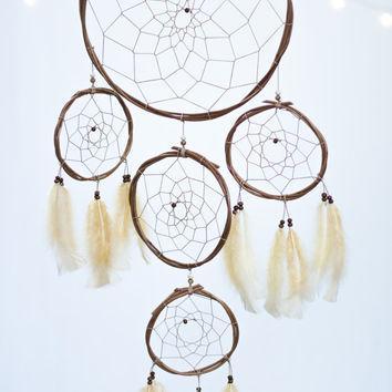 Dreamcatcher Large Feather Boho Multi - Brown Bohemian Wall Hanging Dream Catcher Baby Tribal Crib Nursery Baby Feathers Baby Boy Girl