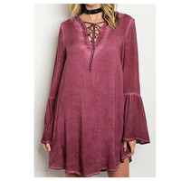 """Always My Style"" Lace Up Bell Sleeve Plum Dress/Top"