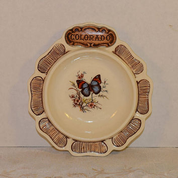 Colorado Dish Treasure Craft Vintage 1970s Wood Look Butterfly Trinket Bowl Colorado Souvenir Durango Made in USA Butterfly Candy Dish