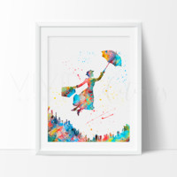 Mary Poppins 3 Watercolor Art Print