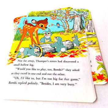 Vintage Children's Book Pages / Bambi / Junk Journal / Old Book Pages