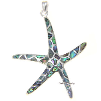 925 Sterling Silver Hawaiian Starfish Sea Star Abalone Paua Shell Pendant S M L