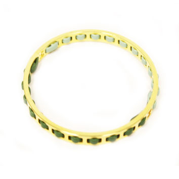 Fendi Green Calf Leather Women's Gold Metal Bangle Bracelet