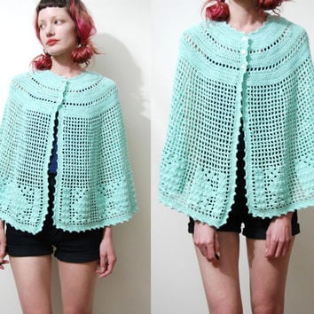 70s Vintage PONCHO Cape KNIT Knitted Crochet Pastel Jade Green Shawl Kawaii Bohemian Hippie Sweater WOOL vtg 1970s