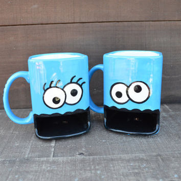 His and Hers Mug Set - Googly Eyed Monster Ceramic Cookie and Milk Dunk Mug - Ready to Ship