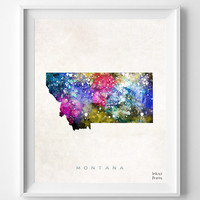 Montana Map, Helena Poster, Painting, Watercolor, Nursery, Room, Home Town, Wall Art, USA, States, America, Decor, Gift [NO 361]