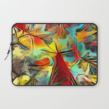 Red forest, colorful sky view, abstract warm artwork, red and yellow colors, nature themed pattern Laptop Sleeve by Casemiro Arts - Peter Reiss