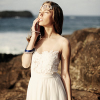 Stunning sheer neckline wedding dress with invisible mesh chest and sheer lace detailing, dreamy silk chiffon skirt