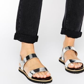315afc765 London Rebel Two Strap Flat Sandals at from ASOS