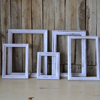 Lavender Shabby Chic Vintage Wooden Frames - Set of 5