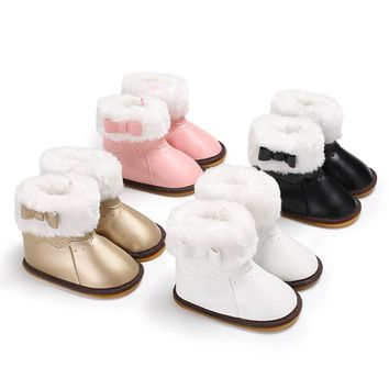 Fashion PU Leather Baby Rubber Sole Snow Boots Anti-slip Design Soft Crib Shoes Toddler Boots Baby Girl Winter Shoes