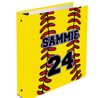 Personalized Three Ring Girls Softball Sports Team Fan player Custom Binder for School Organizer Office Homework Black or Any Color