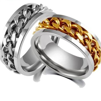 Stainless Steel & Titanium Chain Spinner Ring
