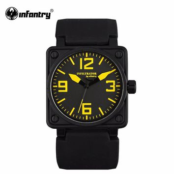 INFANTRY Mens Watches Square Face Hot Sale Military Army Quartz Watch Black Rubber Strap Sports Watches Relogio Masculino