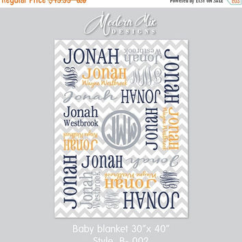 Monogrammed Blanket - Personalized Receiving Blanket for Boys, Chevron Baby Blanket, Newborn Swaddling Blanket, Baby Photo Prop