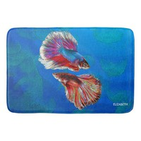 Two Fighting Psychedelic Colorful Fish Psychedelic Bath Mat