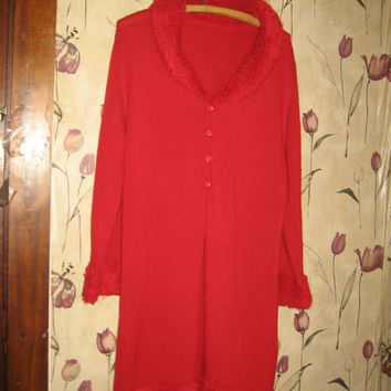 vintage red Cardigan/Sweater coat / dress/knitted sweater with fuzzy collar and cuffs