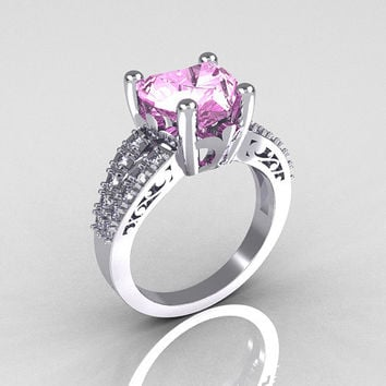 Modern Vintage 14K White Gold 3.0 Carat Heart Light Pink Sapphire Diamond Solitaire Ring R134-14KWGDLPS