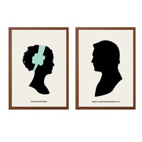 You're Chuck Bass Poster : 'Chair' Modern Illustration Gossip Girl TV Series Retro Art Wall Decor - Set of Two Prints A4 11 x 8