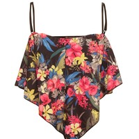 Bright Floral Floaty Crop Top - TOPS