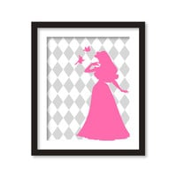 Nursery art - Silhouette of pink princess and gray rhombus - diamonds- disney princess- girl room decor