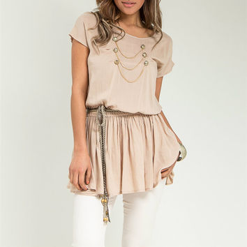 Short Sleeve Empire Waist Top with Belt in Beige