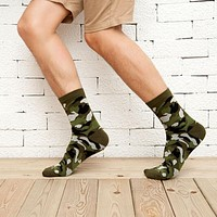 1Pair Fashion Compression Happy Socks Men Colorful Calcetines Hombre Winter Socks For Men Hip Hop 3D Print Socks Camouflage Sock