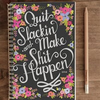 2014 12-Month Weekly Planner with Back Pocket – Quit Slackin' Black