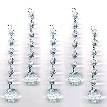 Magnificent Crystal Clear 5 Pieces Diamond Hanging Crystal Garland Wedding Strand with 6 Beads and 30mm Ball Prism Pendant Accent, By CrystalPlace