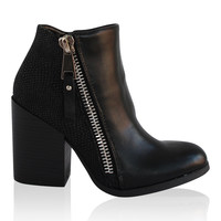 """Toro"" Chunky Heel Side Zip Booties - Black"