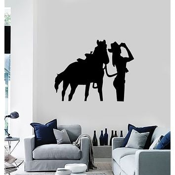 Vinyl Decal Wall Sticker Cowgirl Horse Western Home Decor Unique Gift (g082)