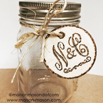 "Initials or Monogrammed 2"" round Wood Burned Wedding Gift Tags for Mason Jars or Favors, set of 5"