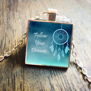 Follow Your Dreams Dreamcatcher Silver Pendant Necklace Jewelry