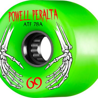 Powell Peralta ATF 69mm 78a Green Skeleton Hands Wheels
