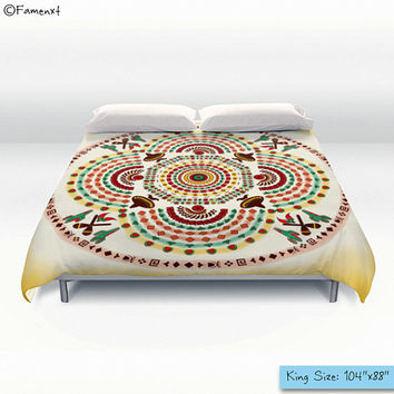Duvet Cover, Pattern Cowboy and Mustache Mandala, Ethnic Designer Bedroom Decor, Bedding, Home Interior Decoration