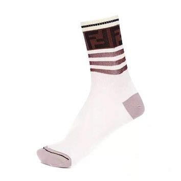 Fendi 2019 new women's stitching striped socks white